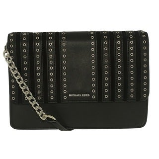 Michael Kors Large Brooklyn Grommet Leather Black Crossbody Handbag