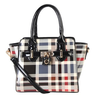 Diophy Classic Plaid Top Handle Small Satchel Handbag