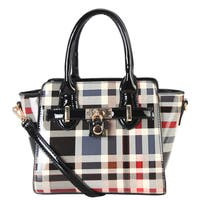 Diophy Classic Plaid Top Handle Small Satchel Handbag