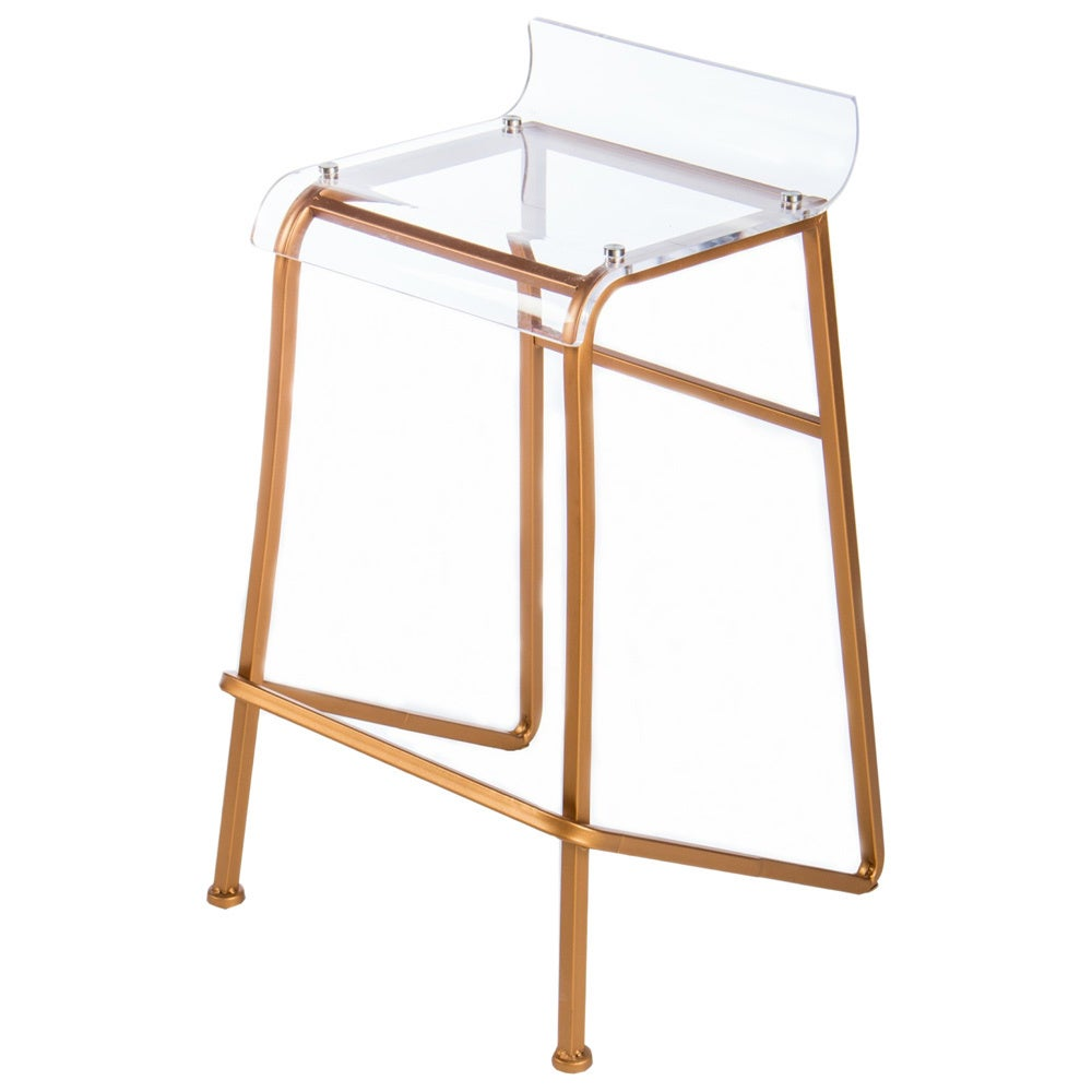 Awesome Statements By J Clear Acrylic And Rose Gold Tone Aluminum Counter Stool 27 Inch Tall Inzonedesignstudio Interior Chair Design Inzonedesignstudiocom