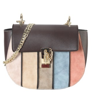 Diophy Multicolor Faux Leather Vertical Striped Crossbody Handbag