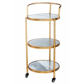 Statements by J Cindy Gold-tone/Silvertone Wood/Metal Bar Cart