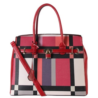 Diophy Saffiano Red and Black Plaid Faux Leather Tote Handbag