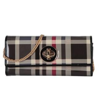 Rimen & Co. Faux-leather Plaid Turn-lock Closure Crossbody Handbag