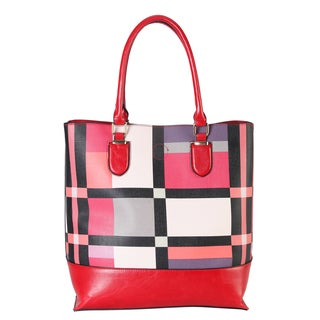 Diophy Rimen & Co. Saffiano Black and Red Plaid-pattern Tote Handbag