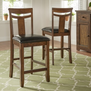 Tuscany Black Faux Leather and Wood High Back Counter Height Chairs (Set of 2) by iNSPIRE Q Classic