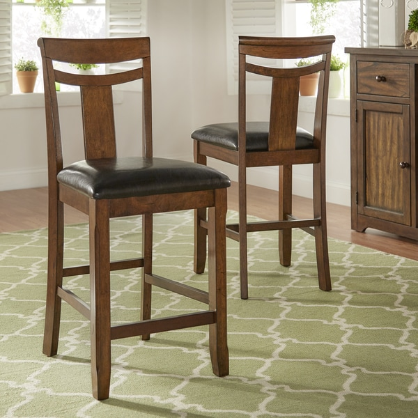 Tuscany Black Faux Leather And Wood High Back Counter Height Chairs Set Of 2