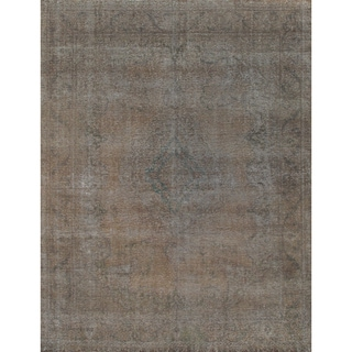 Hand-knotted Vintage Grey Overdyed Wool Area Rug (9'7 x 12'6) - 10' x 14'