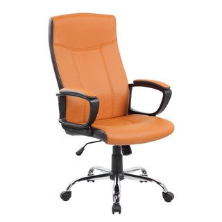 Mid-back Brown and Black PU and PVC Desk Office Chair With Chrome Base