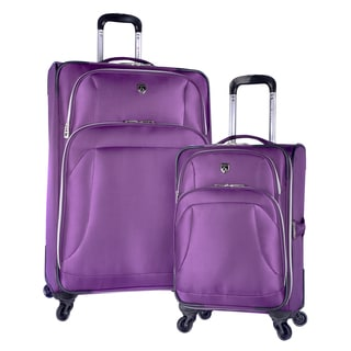 Travelers Club Odessa Black/Purple Polyester 2-piece Expandable Spinner Luggage Set