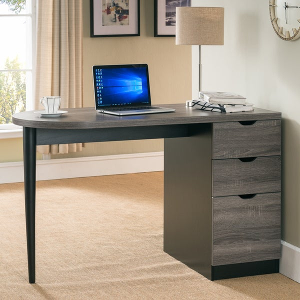 Elissia Contemporary Two-Tone 3-drawer Home Office Writing Desk