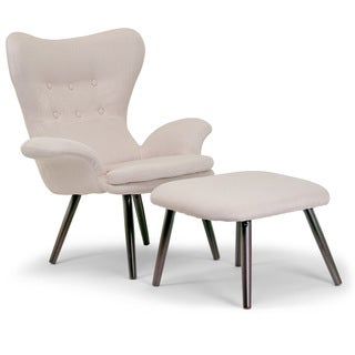 Akari Scandinavian-Style Beige Fabric Wing Back Chair with Ottoman