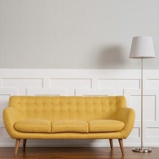 The Curated Room Rhodes Mid-Century Modern Tufted Sunset Yellow Sofa