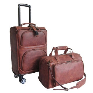 Amerileather Waxy Brown Leather 2-piece Carry On Spinner Luggage Set
