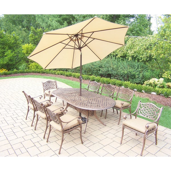 patio set with table, 8 cushioned chairs, 9 ft umbrella and stand 9 Ft Umbrella with Stand