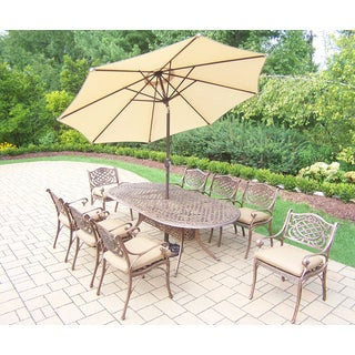 Dakota Outdoor Patio Dining Set with Table, 8 Cushioned Chairs, 9 ft Beige Umbrella and Stand