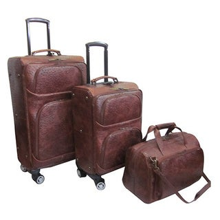 Amerileather Brown Leather Ostrich-Print 3-pice Spinner Luggage Set
