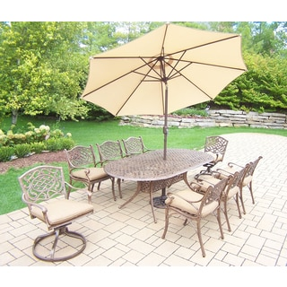 Dakota Outdoor Patio Dining Set with Table, 6 Cushioned Chairs, 2 Cushioned Swivel Rockers, 9 ft Beige Umbrella and Stand