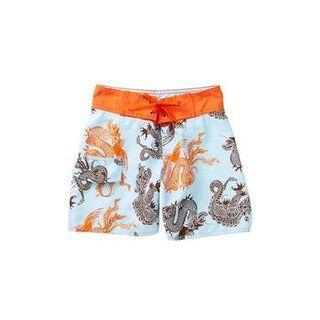 Azul Swimwear Boys' Orange and Blue Polyester Dragons Boardshorts