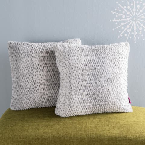 Elise Modern Glam Faux Fur Throw Pillows (Set of 2) by Christopher Knight Home