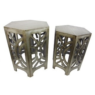 FireFly Antique Silver Wood 22-inch/24.25-inch 2-piece Stool Set