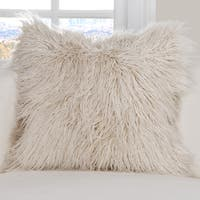 PoloGear Off-white Washable Faux Fur Llama Square Accent Pillow