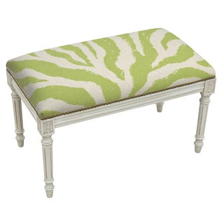 Green Linen, Wood Zebra Stripes Bench with Antique White Finish and Nail Heads