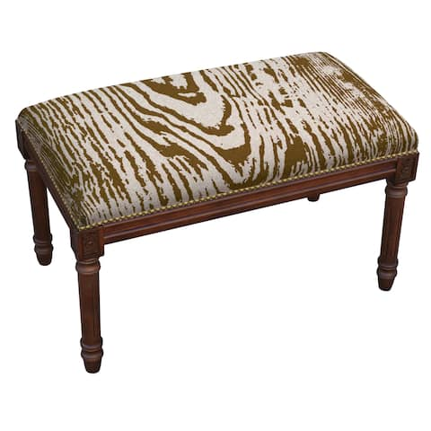 Wooden Stain Finished Fabric Upholstered Bench