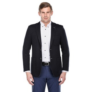Verno Navy Blue Rough Selvedge Slim-fit Fashion Blazer