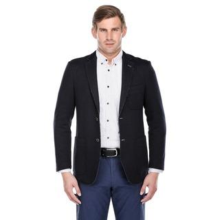 Verno Navy Blue Rough Selvedge Slim-fit Fashion Blazer