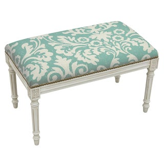 Jacobean Floral and Antique White Finish Bench With Nail Heads
