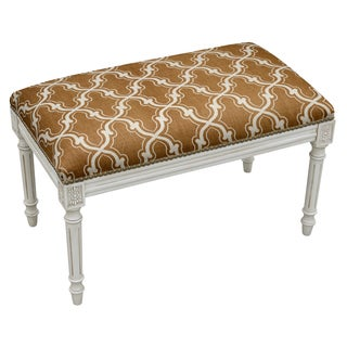 Antique White Wood and Linen Nailhead Trellis Bench