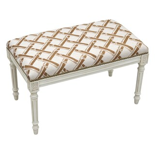 Antique Finish White Wood Upholstered Bamboo Trellis Bench