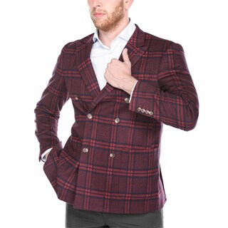 Verno Men's Red/Blue Wool/Rayon/Nylon Plaid Double-breasted Peak Lapel Slim-fit Blazer