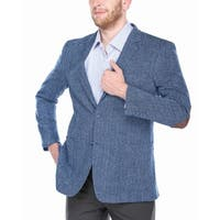 Verno Men's Navy and Light Blue Wide Herringbone 100% Wool Blazer