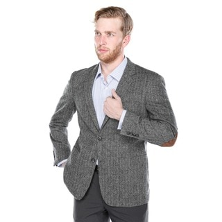 Verno Men's Black and Grey Wide Herringbone Wool Blazer