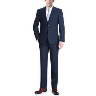 Verno Campana Men's Navy Blue Polyester/Viscose Italian Style Slim-fit 2-piece Suit