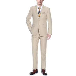Verno Allegri Men's Tan Slim-fit Italian Style 2-piece Jacket and Pants Suit