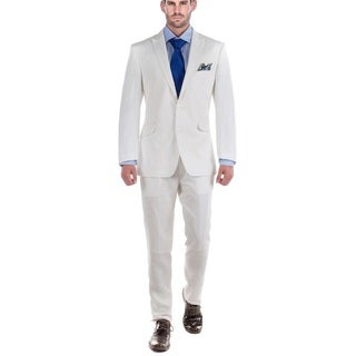 Verno Men's White 100% Linen 2-piece Classic-fit Peak-lapel Jacket and Pants Suit