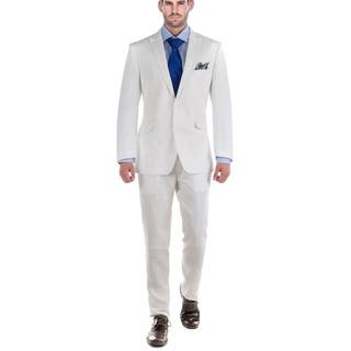 Verno Men's White 100% Linen 2-piece Classic-fit Peak-lapel Jacket and Pants Suit|https://ak1.ostkcdn.com/images/products/13579026/P20254371.jpg?impolicy=medium