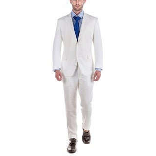Verno Men's White Linen Classic-fit 2-piece Suit