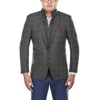 Verno Men's Grey and White Windowpane Pattern Wool Blazer with Scarf and Zip-up Bib