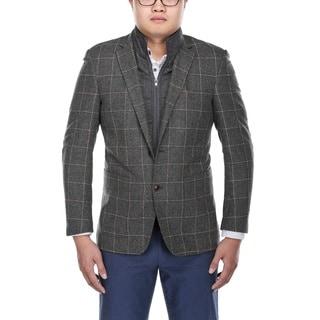 Verno Men's Grey and White Windowpane Pattern Wool Blazer with Scarf and Zip-up Bib