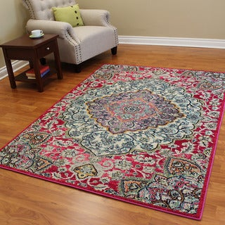 Expressions Cherry Red Oriental-design Area Rug (5' x 7')