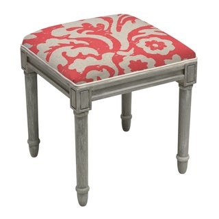 Jacobean Multicolor Floral Linen and Vanity Stool with Rustic Grey Finish Wood (Red)