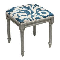 Jacobean Multicolor Floral Linen and Vanity Stool with Rustic Grey Finish Wood