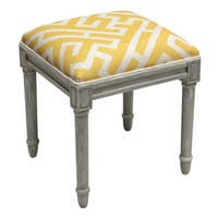 Rustic Grey Finish Foam/Linen/Wood Lattice Vanity Stool