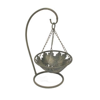 FireFly Antique Green Metal Hanging Basket with Stand