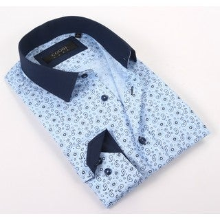 Coogi Luxe Men's Blue Light/Navy Paisley Patterned Dress Shirt