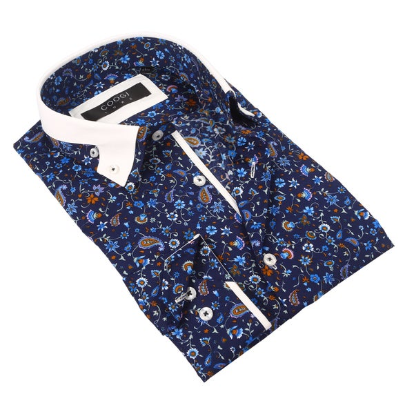 e5f1414d11267 Coogi Luxe 100% Cotton Men's Floral Navy Patterned Dress Shirt